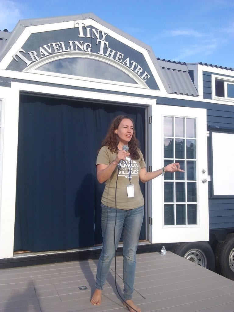 2018 Big Mass Tiny House Festival - Jill Kanto's speechTiny Traveling Theatre  Photo Credit: Jesse Dufault